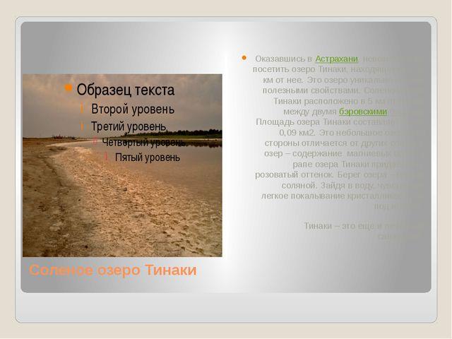 Соленое озеро Тинаки Оказавшись в Астрахани, невозможно не посетить озеро Тин...