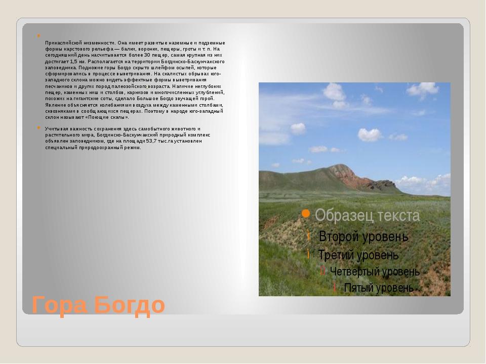Гора Богдо Гора Большо́е Богдо́ (149,6м над уровнем моря)— самая высокая то...