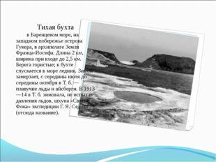 Тихая бухта в Баренцевом море, на западном побережье острова Гукера,