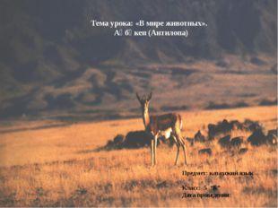 Тема урока: «В мире животных». Ақбөкен (Антилопа) Предмет: казахский язык Кла