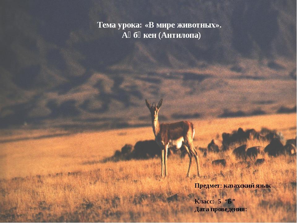 Тема урока: «В мире животных». Ақбөкен (Антилопа) Предмет: казахский язык Кла...