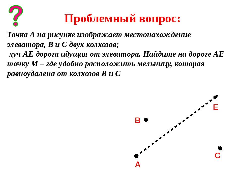 Проблемный вопрос: Точка А на рисунке изображает местонахождение элеватора,...