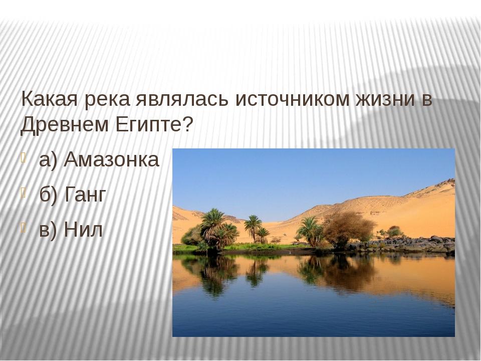 Какая река являлась источником жизни в Древнем Египте? а) Амазонка б) Ганг в...