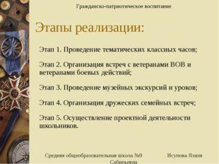 Этапы реализации: Этап 1. Проведение тематических классных часов; Этап 2. Орг
