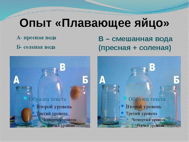 Опыт «Плавающее яйцо» А- пресная вода Б- соленая вода В – смешанная вода (пре...