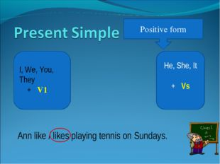 Positive form He, She, It + Vs I, We, You, They + V1 Ann like / likes playing