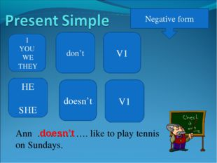 Negative form I YOU WE THEY don't V1 Ann ……………. like to play tennis on Sunday