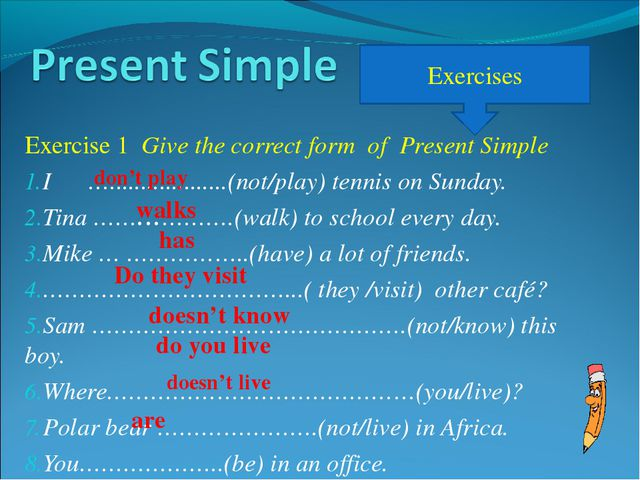 Exercise 1 Give the correct form of Present Simple I …...................(not...