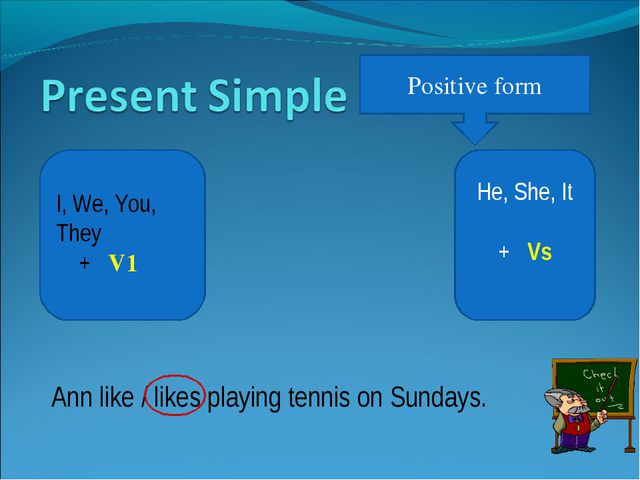 Positive form He, She, It + Vs I, We, You, They + V1 Ann like / likes playing...
