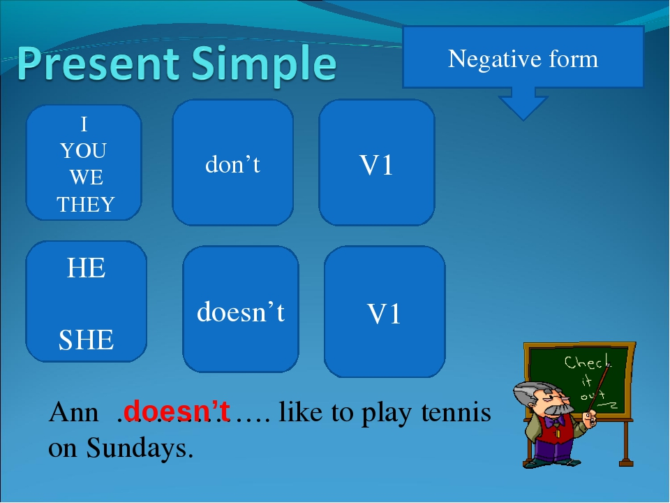Negative form I YOU WE THEY don't V1 Ann ……………. like to play tennis on Sunday...