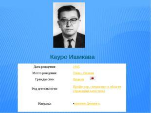 Кауро Ишикава Дата рождения: 1915 Место рождения: Токио, Япония Гражданство: