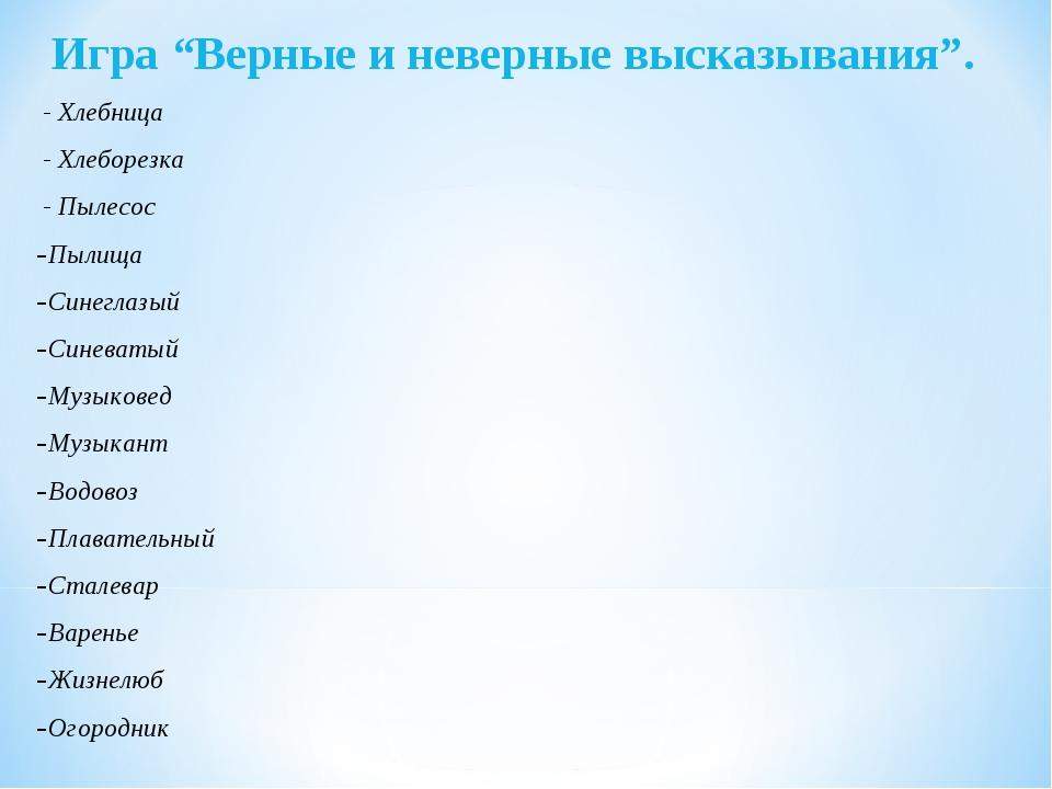 """Игра """"Верные и неверные высказывания"""". - Хлебница - Хлеборезка - Пылесос Пыли..."""