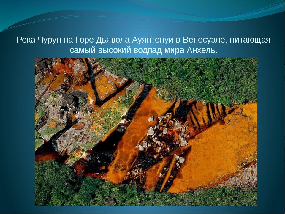 Река Чурун на Горе Дьявола Ауянтепуи в Венесуэле, питающая самый высокий водп...