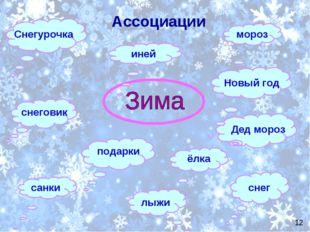 Ассоциации санки снеговик ёлка Новый год мороз Дед мороз Снегурочка иней пода