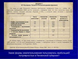 Какие формы землепользования пользовались наибольшей популярностью в Пензенск