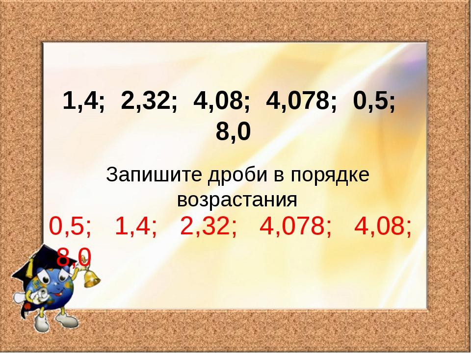 1,4; 2,32; 4,08; 4,078; 0,5; 8,0 Запишите дроби в порядке возрастания 0,5; 1,...