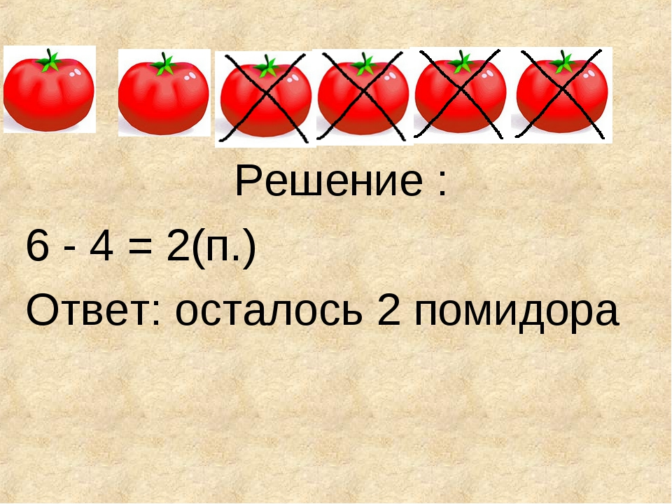 Решение : 6 - 4 = 2(п.) Ответ: осталось 2 помидора