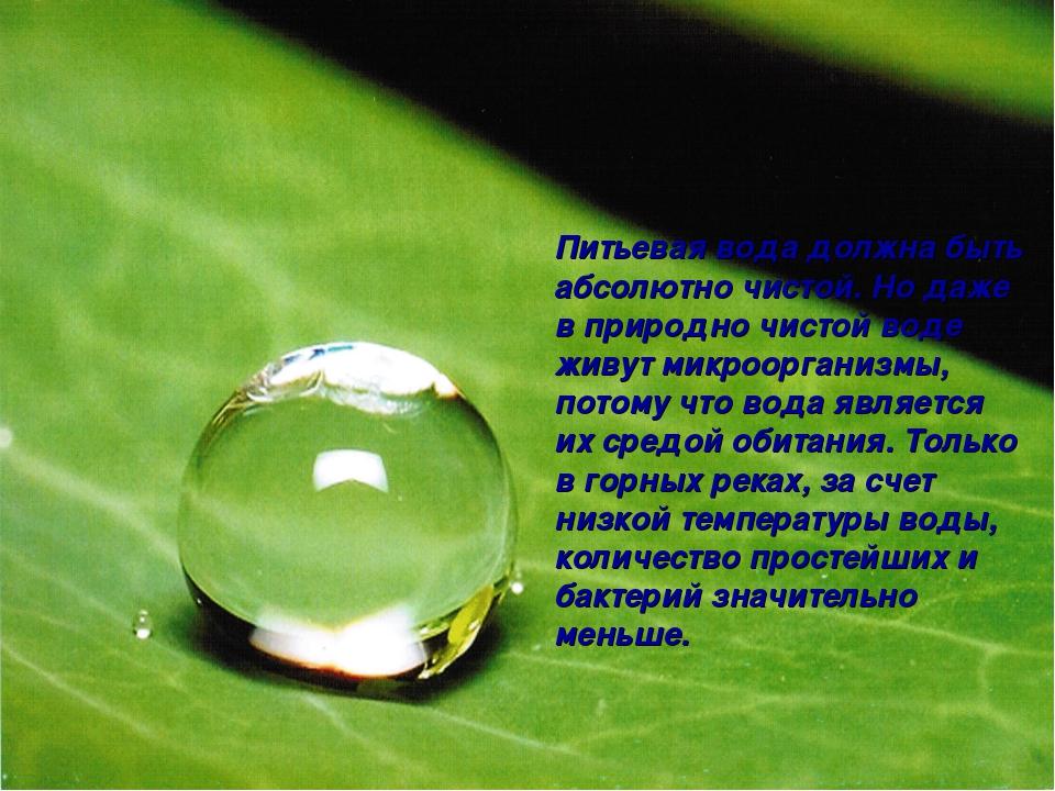 Питьевая вода должна быть абсолютно чистой. Но даже в природно чистой воде жи...