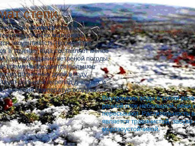 Климат степи Особенностью климата степей, характерного для всех материков, я...