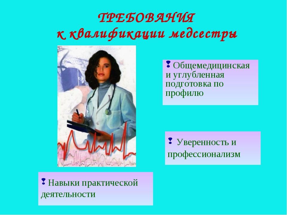 ТРЕБОВАНИЯ к квалификации медсестры Общемедицинская и углубленная подготовка...