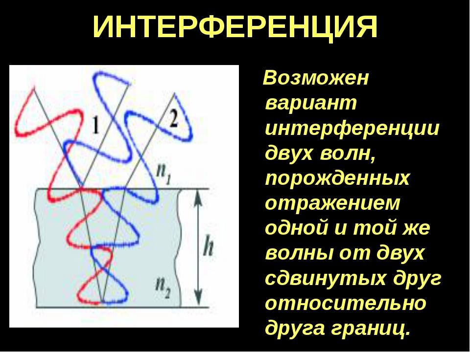 ИНТЕРФЕРЕНЦИЯ Возможен вариант интерференции двух волн, порожденных отражение...