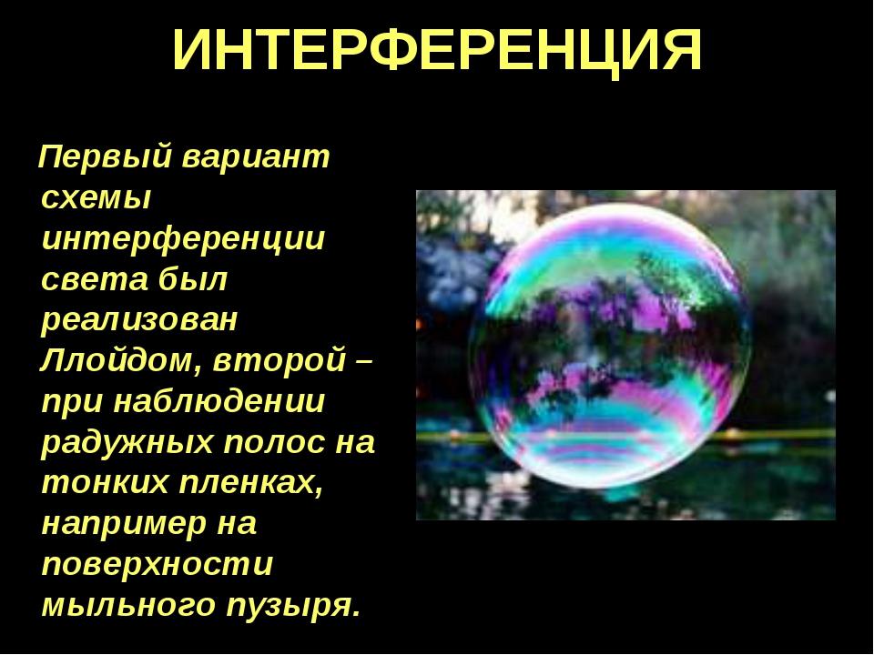 ИНТЕРФЕРЕНЦИЯ Первый вариант схемы интерференции света был реализован Ллойдом...