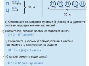 1 схема 2 схема 30 кг 30 кг 1) Обозначьте на моделях буквами П (песок) и Ц (ц
