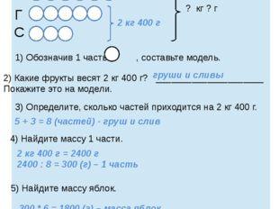 ? кг ? г 1) Обозначив 1 часть - , составьте модель. 2) Какие фрукты весят 2