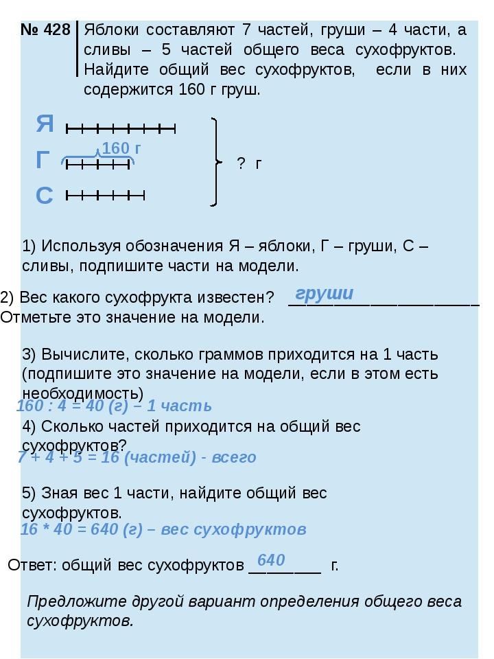 ? г 1) Используя обозначения Я – яблоки, Г – груши, С – сливы, подпишите час...