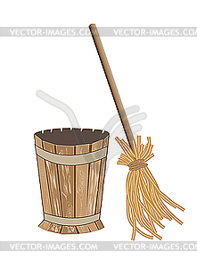 Mortar with broom - vector clipart