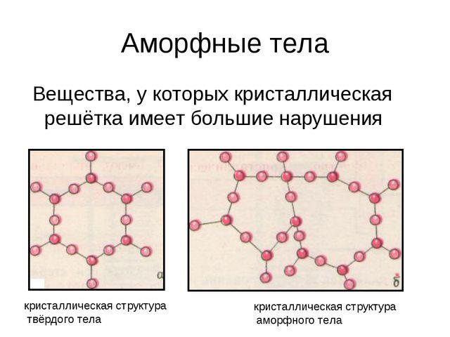 Аморфные тела Вещества, у которых кристаллическая решётка имеет большие наруш...