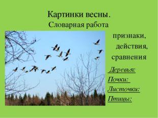 Картинки весны. Словарная работа признаки, действия, сравнения Деревья: Почки