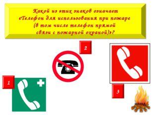 Какой из этих знаков означает «Телефон для использования при пожаре (в том чи