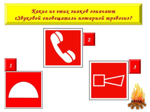 Какие из этих знаков означают «Звуковой оповещатель пожарной тревоги»? 2 1 3
