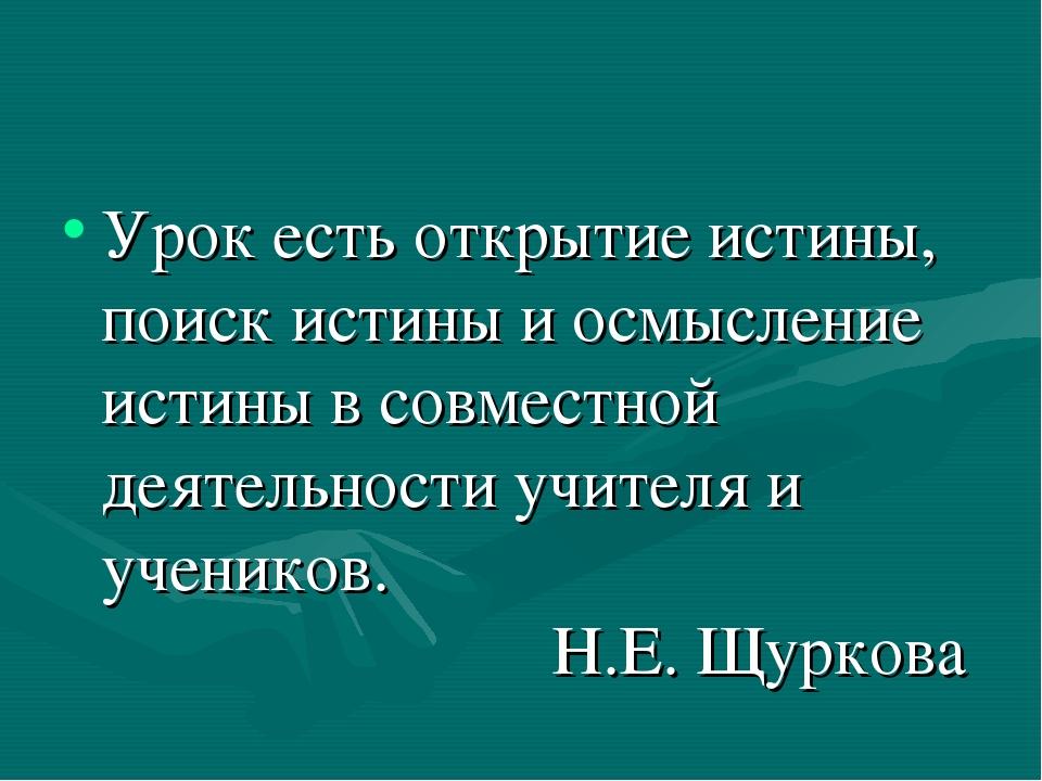 Урок есть открытие истины, поиск истины и осмысление истины в совместной деят...