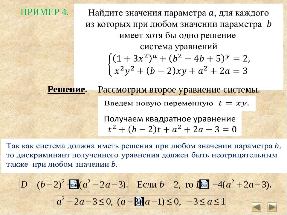 Решений заданий с параметрами
