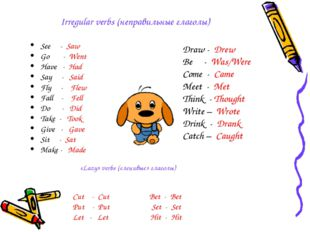 Irregular verbs (неправильные глаголы) See - Saw Go - Went Have - Had Say - S