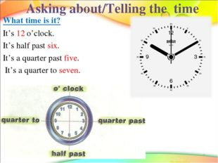 * Asking about/Telling the time What time is it? It's 12 o'clock. It's half p