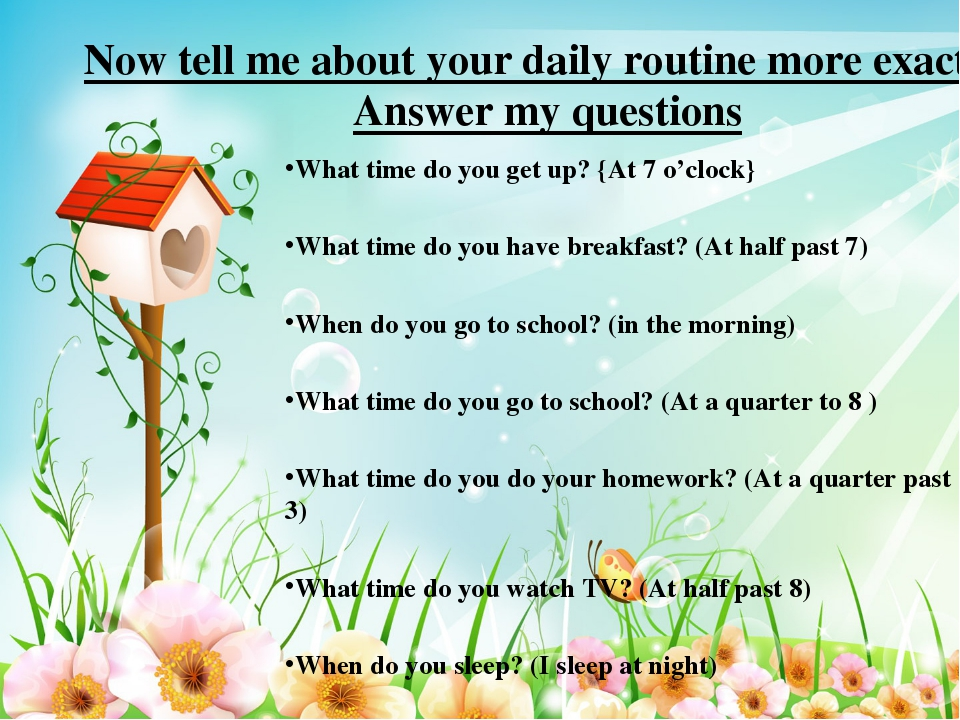 * Now tell me about your daily routine more exactly Answer my questions   Wha...