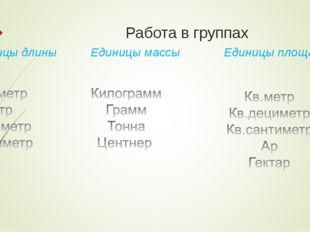 Работа в группах Единицы длины Единицы массы Единицы площади