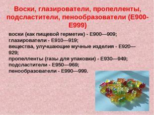 Воски, глазирователи, пропелленты, подсластители, пенообразователи (E900-E999