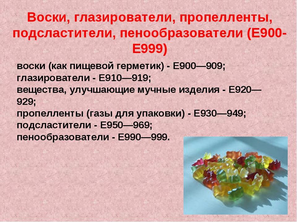 Воски, глазирователи, пропелленты, подсластители, пенообразователи (E900-E999...