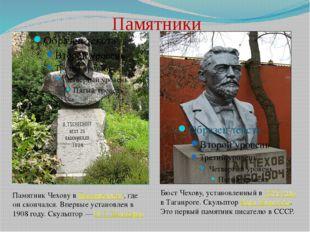 Памятники Памятник Чехову в Баденвейлере, где он скончался. Впервые установле