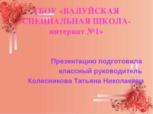 ГБОУ «ВАЛУЙСКАЯ СПЕЦИАЛЬНАЯ ШКОЛА-интернат №1» Презентацию подготовила классн