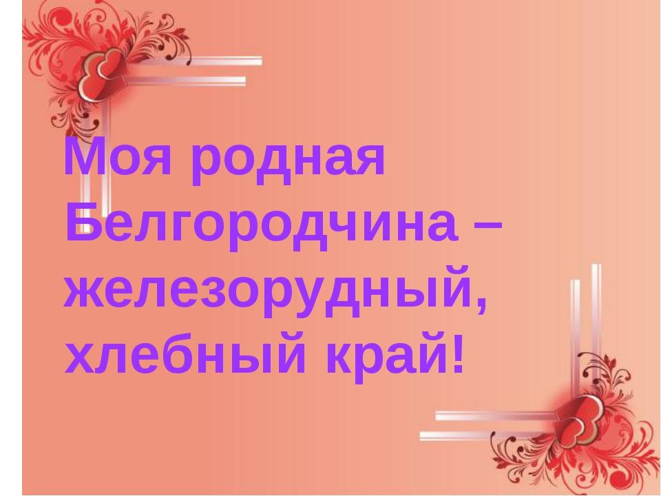 Моя родная Белгородчина –железорудный, хлебный край!