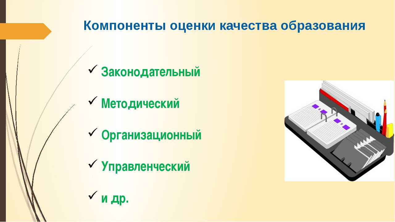 Компоненты оценки качества образования Законодательный Методический Организац...