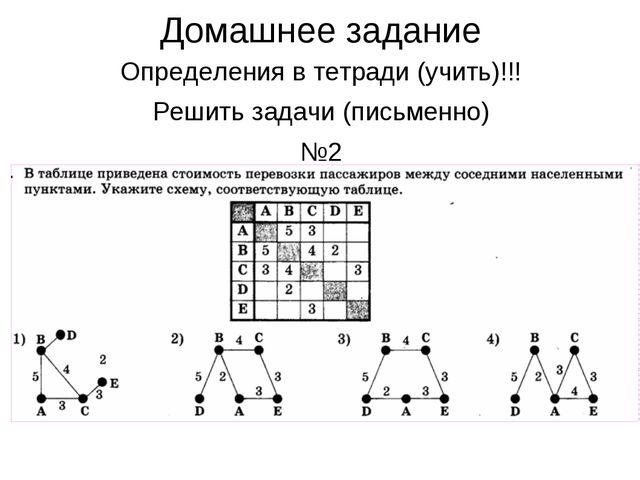 Домашнее задание Определения в тетради (учить)!!! Решить задачи (письменно) №2