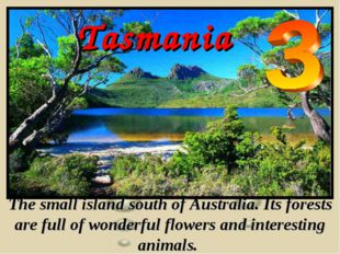 Tasmania The small island south of Australia. Its forests are full of wonderf