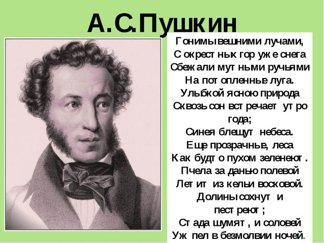 А.С.Пушкин Гонимы вешними лучами, С окрестных гор уже снега Сбежали мутными р...