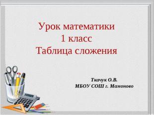 Урок математики 1 класс Таблица сложения Ткачук О.В. МБОУ СОШ г. Мамоново